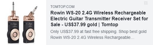 سعر مجموعة Rowin WS-20 2.4G اللاسلكية القابلة لإعادة الشحن للغيتار الكهربائي الارسال: 23.99 دولارًا