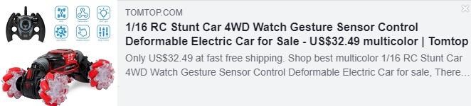 1/16 RC Stunt Car 4WD Watch Gesture Sensor Control مشوه سعر السيارة الكهربائية: 32.49 دولار